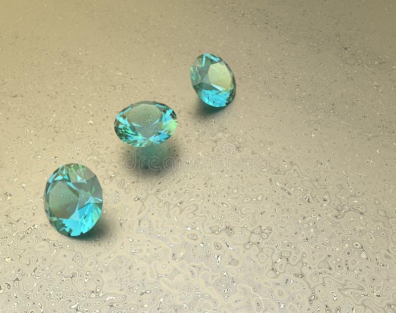 Achtergrond met blauwe halfedelstenen 3D Illustratie royalty-vrije illustratie