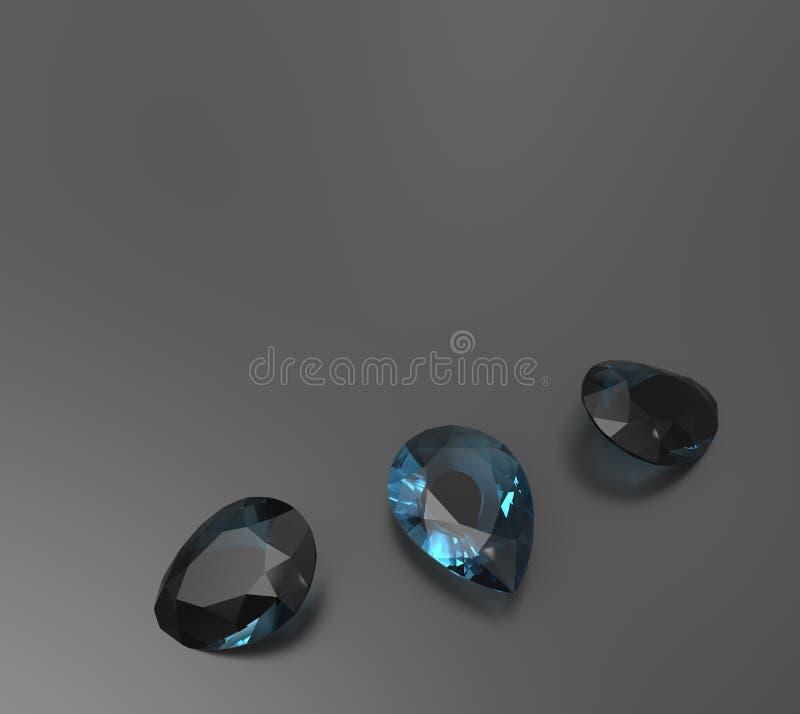 Achtergrond met blauwe halfedelstenen 3D Illustratie stock fotografie