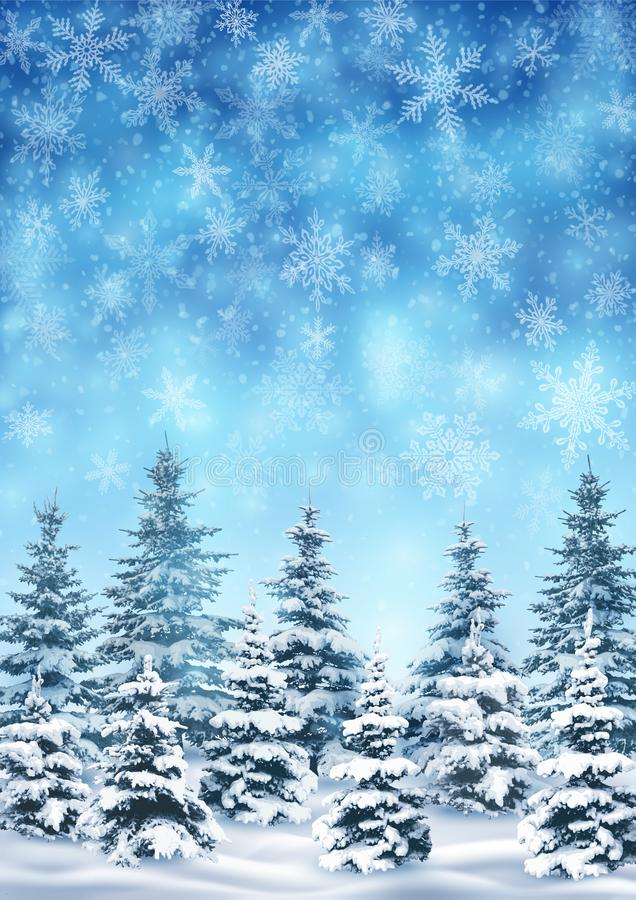 Achtergrond met Blizzard en Bos vector illustratie