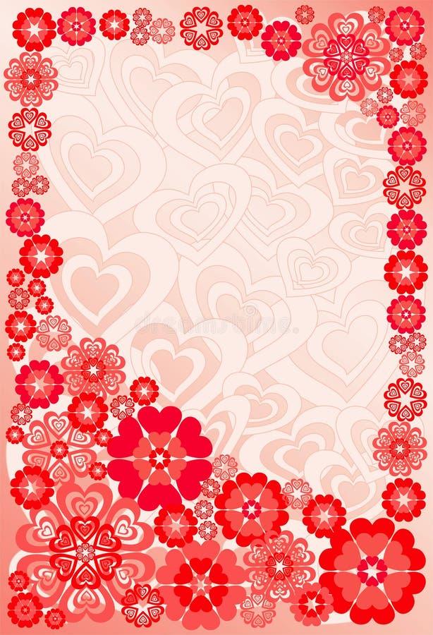 Achtergrond met bloemen en harten, vector vector illustratie