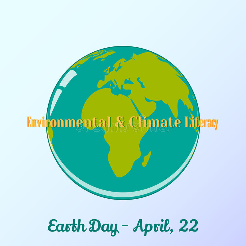 Achtergrond met bol en het van letters voorzien in beeldverhaalstijl voor de Dag van de Wereldaarde Milieu en Klimaatgeletterdhei vector illustratie
