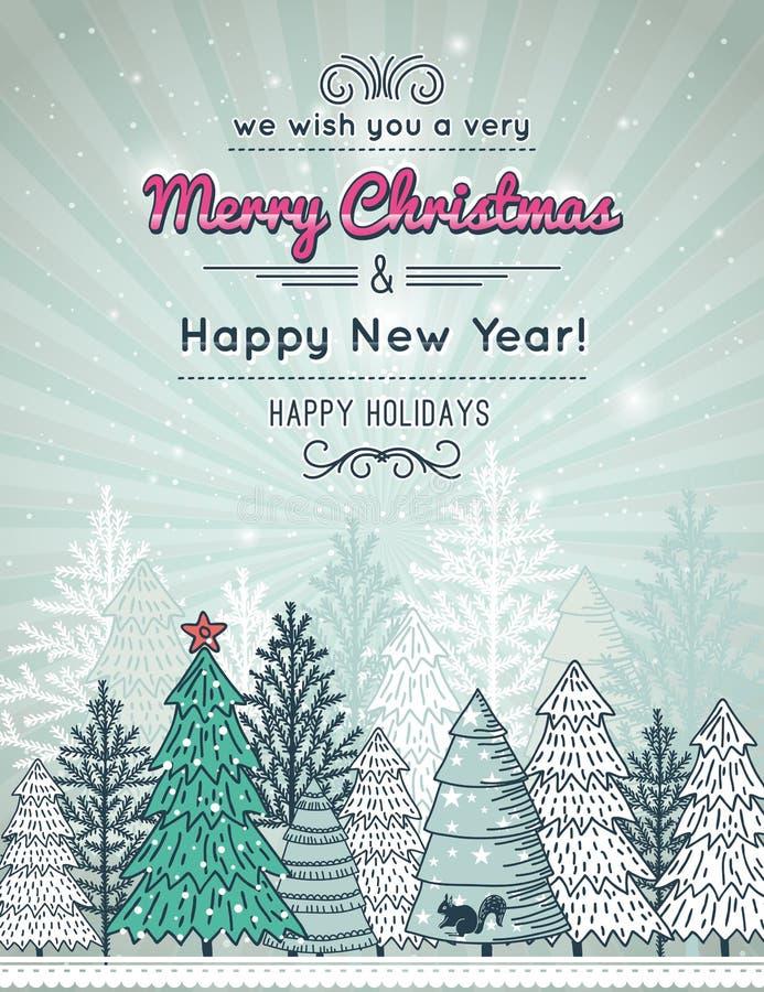 Achtergrond met bos van Kerstmisbomen stock illustratie