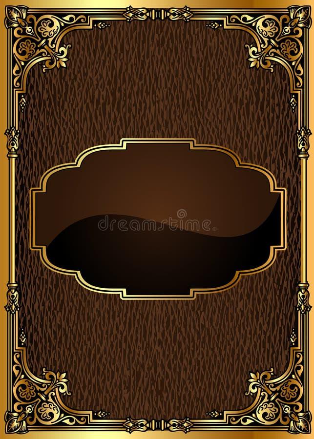 Achtergrond met bruin frame met gouden (Engels) patroon royalty-vrije illustratie