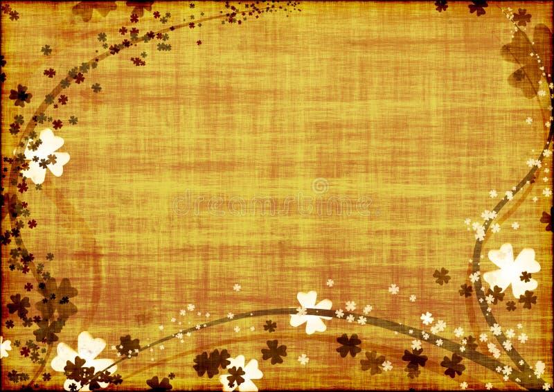 Achtergrond met bruine lijnen en bladerenklavers royalty-vrije illustratie
