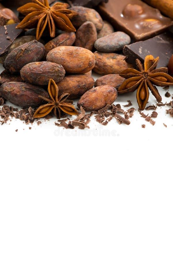 Achtergrond met cacaobonen, diverse chocolade en kruiden royalty-vrije stock foto