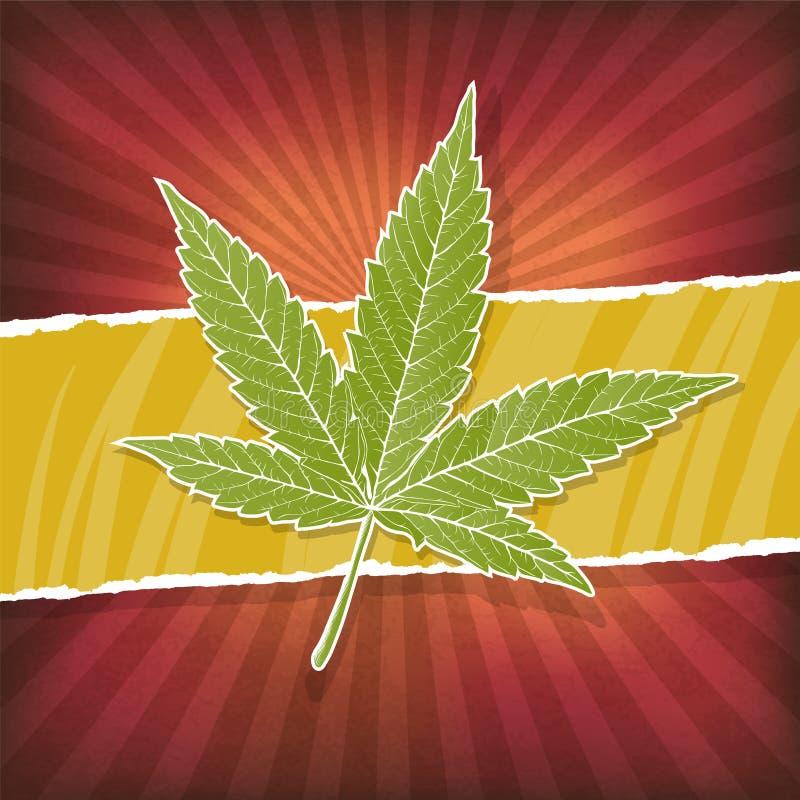 Achtergrond met cannabisblad royalty-vrije illustratie