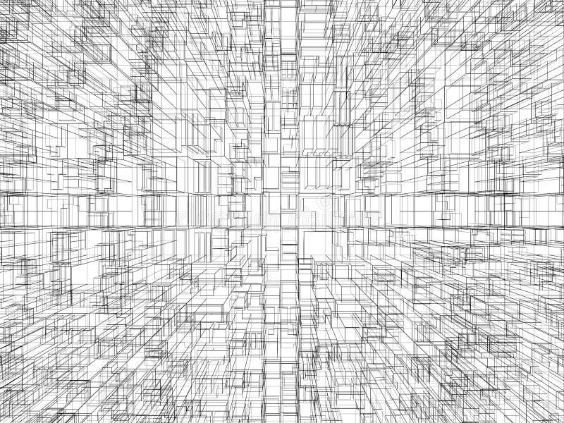 Achtergrond met chaotische kubieke 3d structuur vector illustratie