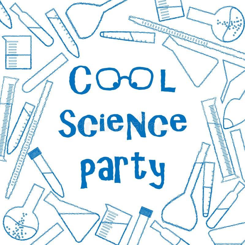 Achtergrond met chemisch glaswerk voor de koele affiche van de wetenschapspartij stock illustratie