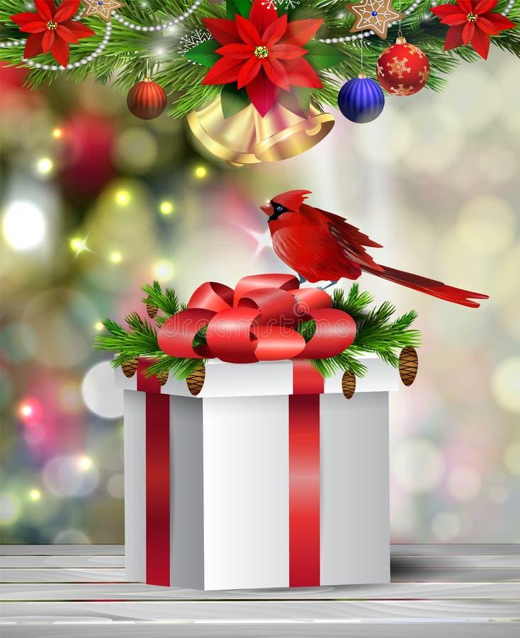 Achtergrond met de bal van Kerstmis stock fotografie
