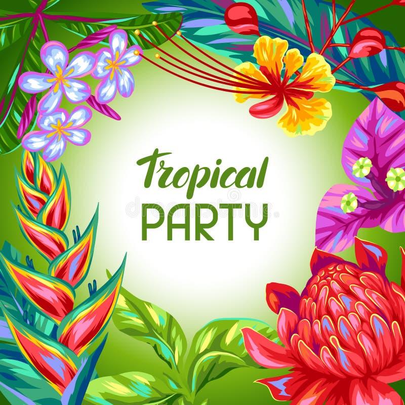 Achtergrond met de bloemen van Thailand Tropische veelkleurige installaties, bladeren en knoppen royalty-vrije illustratie