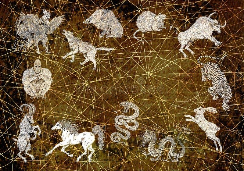 Achtergrond met de Chinese dieren van de kalenderdierenriem stock illustratie
