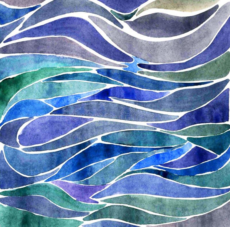 Achtergrond met de golven van de waterkleur royalty-vrije illustratie
