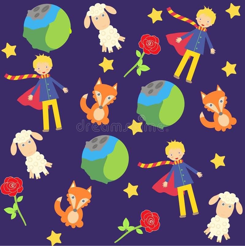 Achtergrond met de kleine prinskarakters vector illustratie