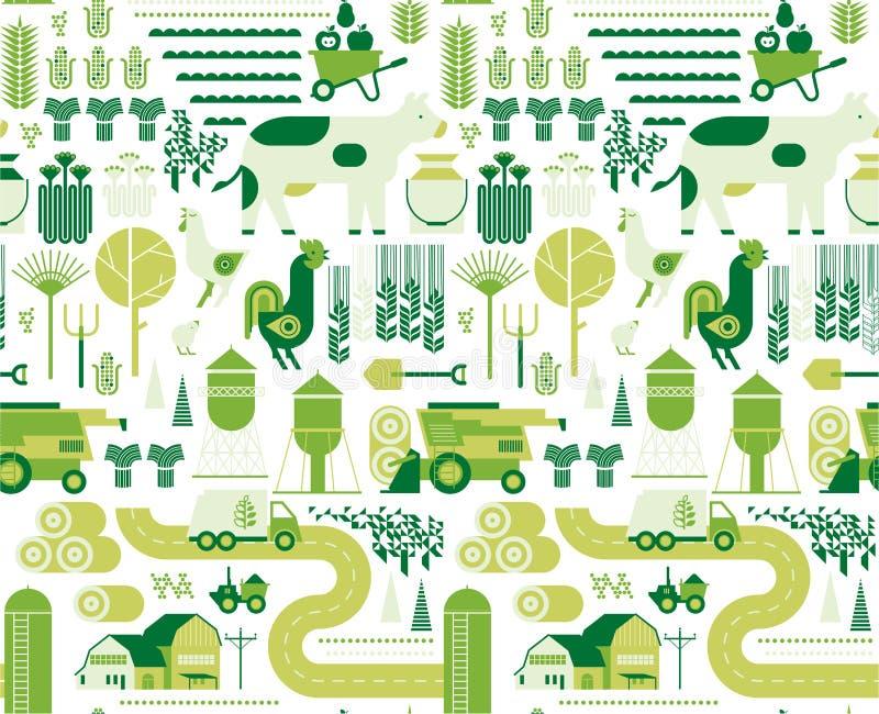 Achtergrond met de landbouw van silhouetten stock illustratie