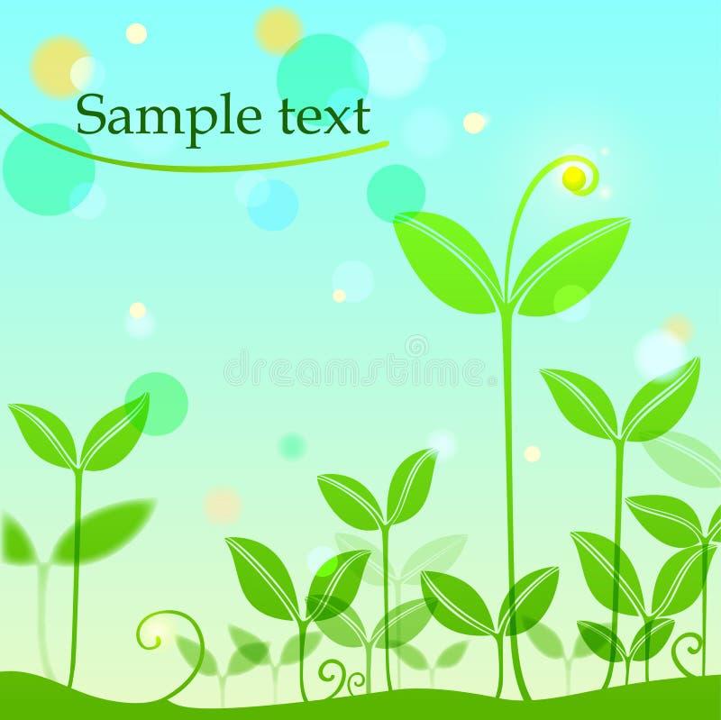 Achtergrond met de lentespruiten stock illustratie