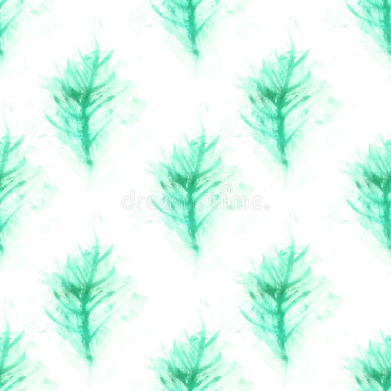 Achtergrond met de twijg van de waterverfpijnboom royalty-vrije stock foto's