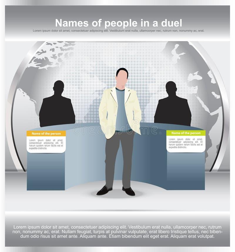Achtergrond met een duel van twee personen en moderator vector illustratie