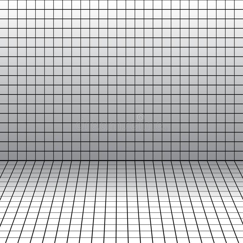 Achtergrond met een perspectiefnet. stock illustratie