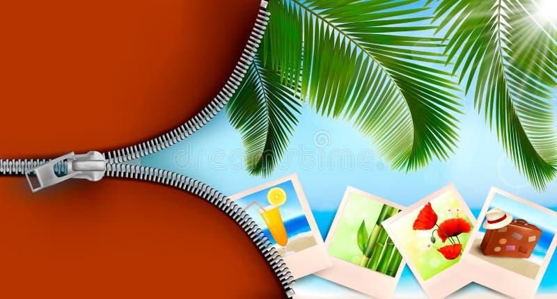 Achtergrond met foto's van vakantie op een kust. vector illustratie