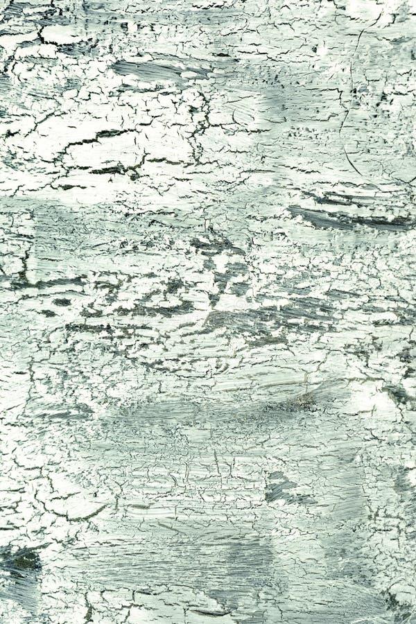 Achtergrond met gebarsten bleek - groene verf Textuur van oude ruwe deklaag Een muur met een ongebruikelijk, abstract patroon stock foto