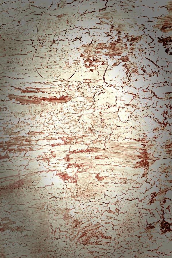 Achtergrond met gebarsten witte en rode verf Textuur van oude ruwe deklaag Een muur met een ongebruikelijk, abstract patroon en stock foto