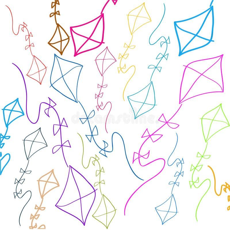 Achtergrond met gekleurde vliegers stock illustratie