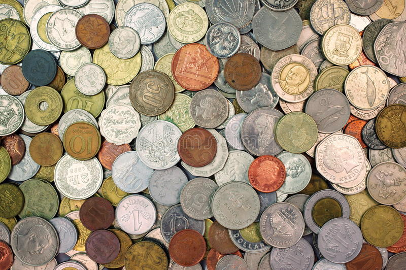 Achtergrond met geldmuntstukken royalty-vrije stock foto
