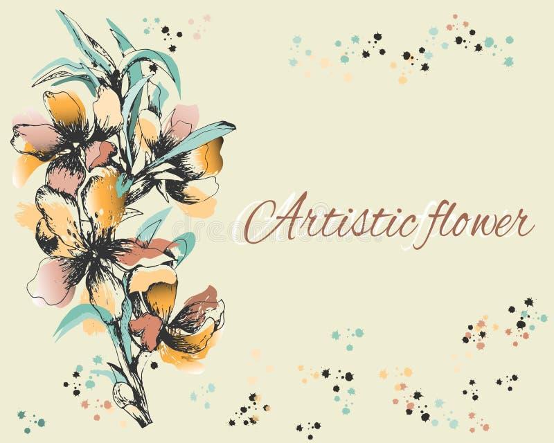 Achtergrond met gevoelige geschilderde bloemen Prentbriefkaar, tekstframe De bloemen van de de lentecontour, waterverf Vector ill royalty-vrije illustratie