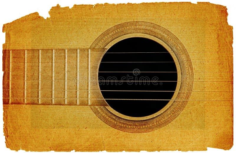 Achtergrond met gitaar in grungestijl royalty-vrije stock afbeelding