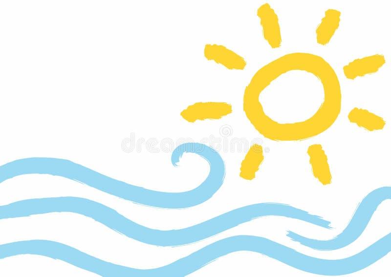 Achtergrond met golven en zon met ruwe borstel met de hand wordt getrokken die Imitatie van de waterverftekening van kinderen Gru royalty-vrije illustratie