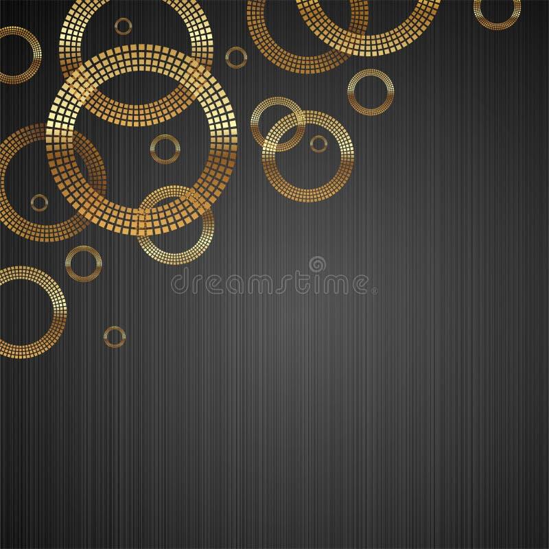 Achtergrond met gouden luxe glanzende cirkels royalty-vrije illustratie