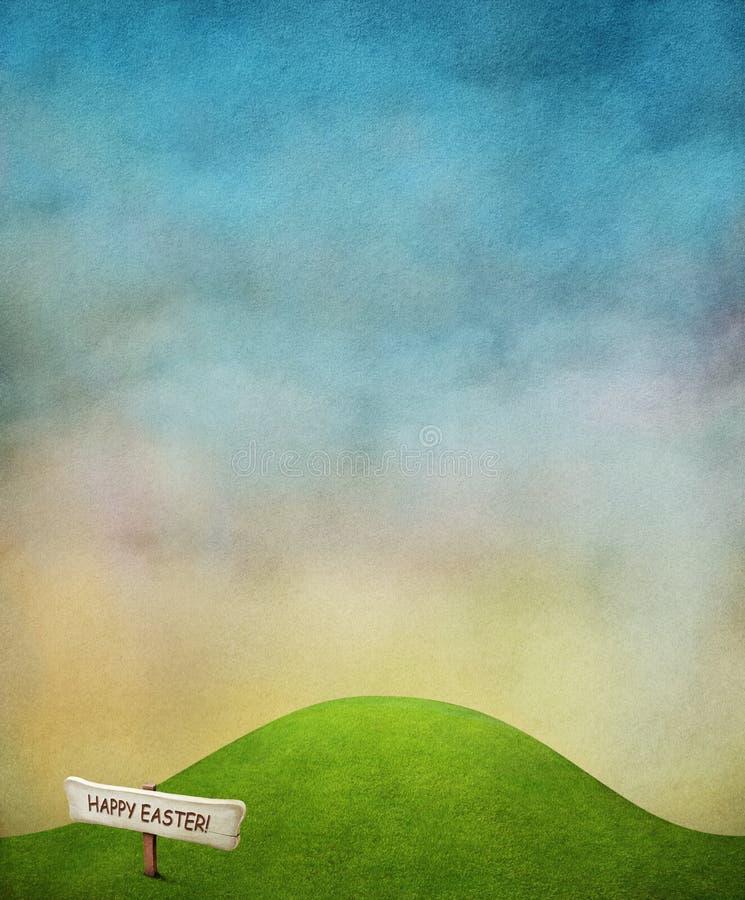 Achtergrond met groen gazon en teken.