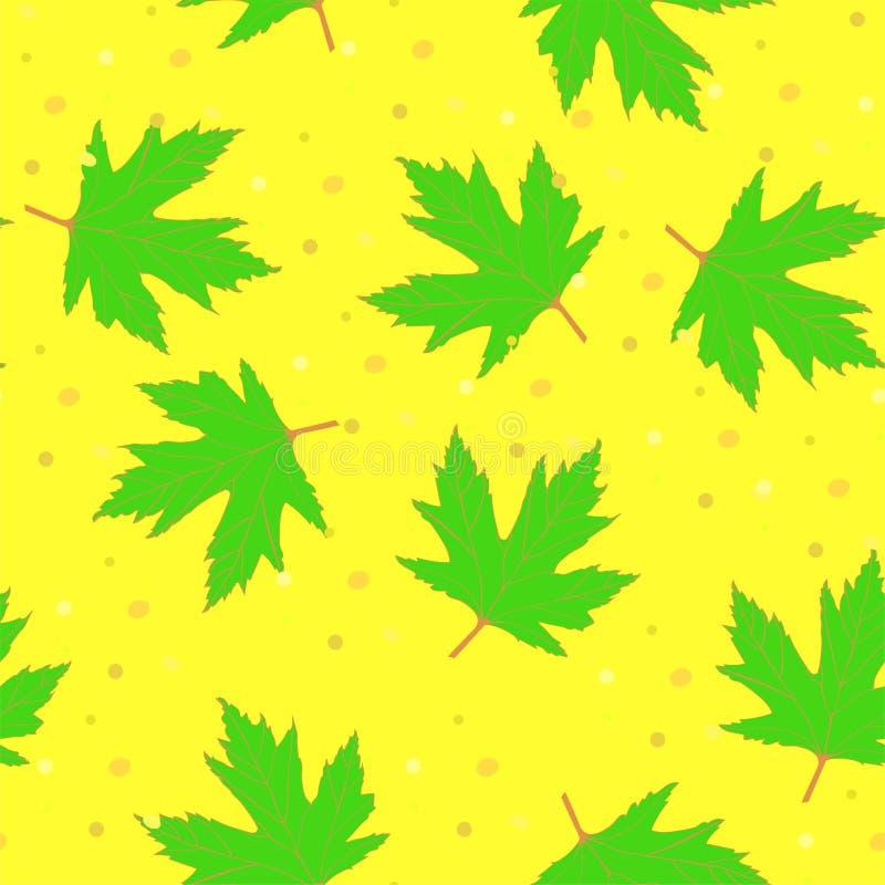 Achtergrond met groene esdoornbladeren royalty-vrije illustratie