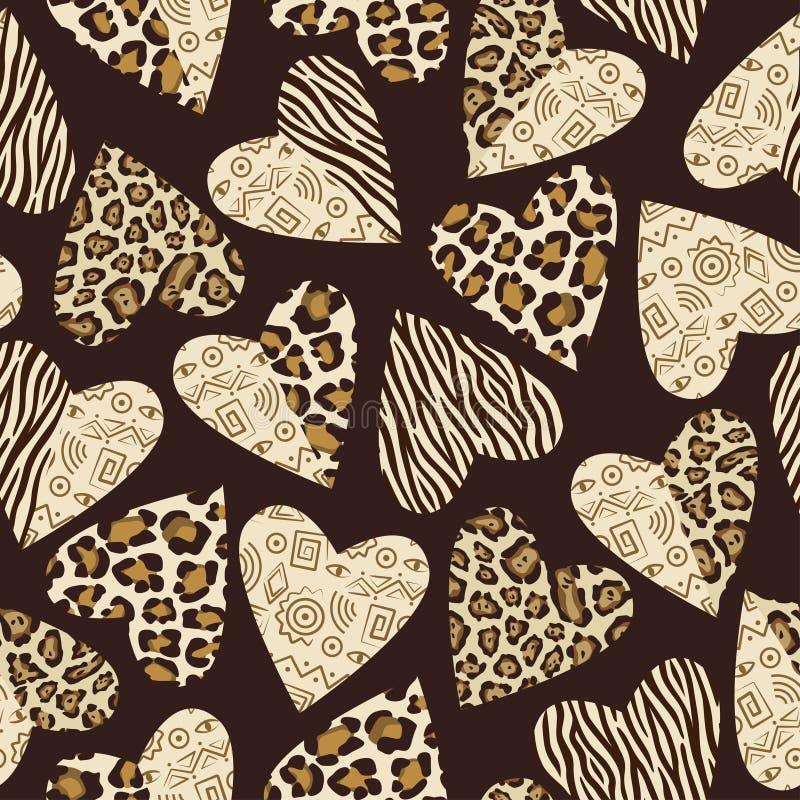 Achtergrond met harten met dierlijk huidpatroon. vector illustratie
