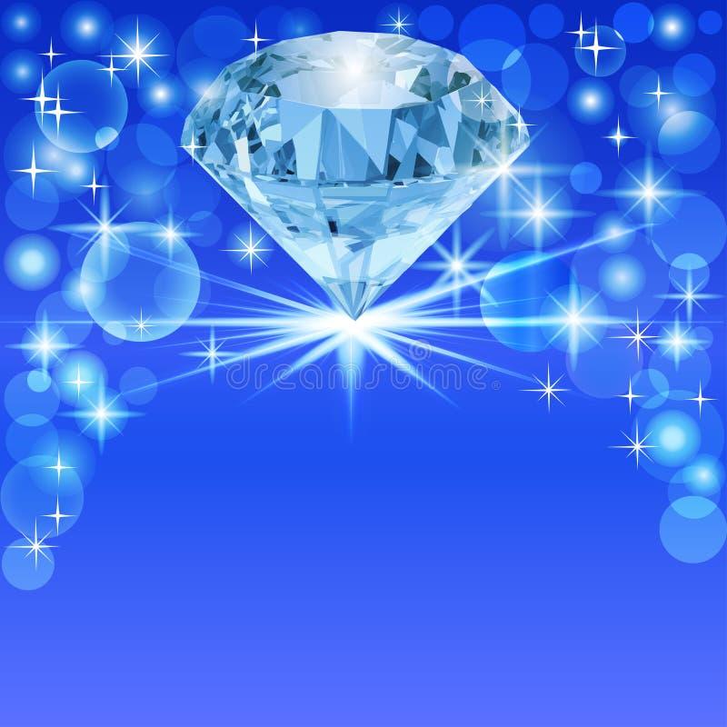 Achtergrond met heldere glanzende diamant en plaats voor tekst stock illustratie