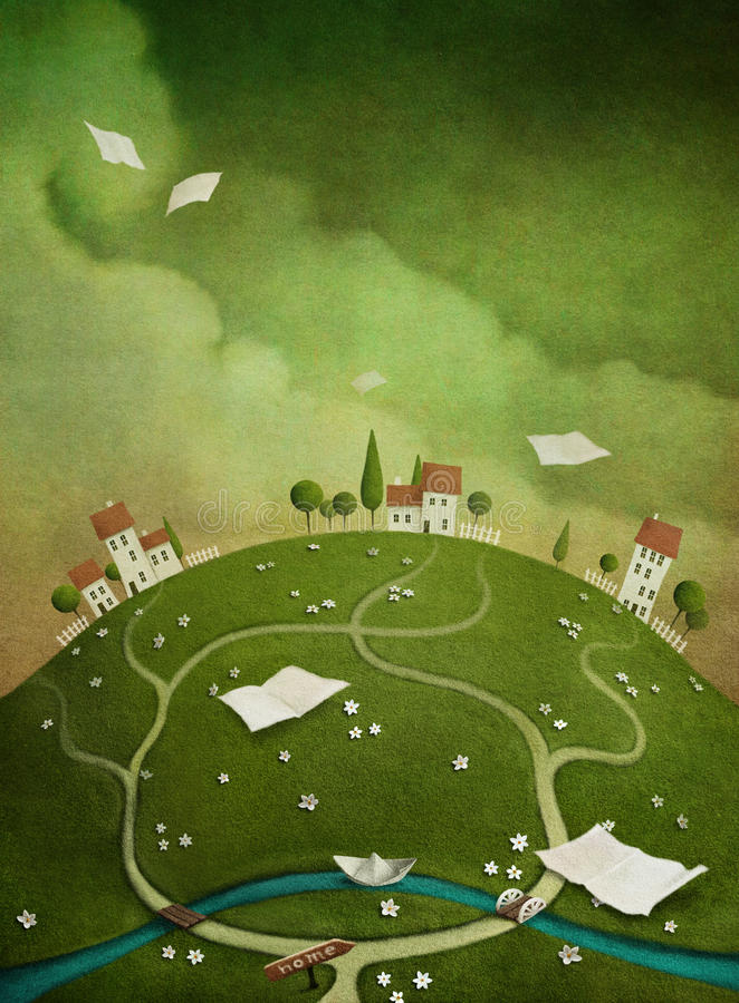 Achtergrond met huizen op de heuvel. royalty-vrije illustratie