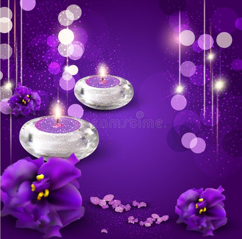 achtergrond met kaarsen stock illustratie