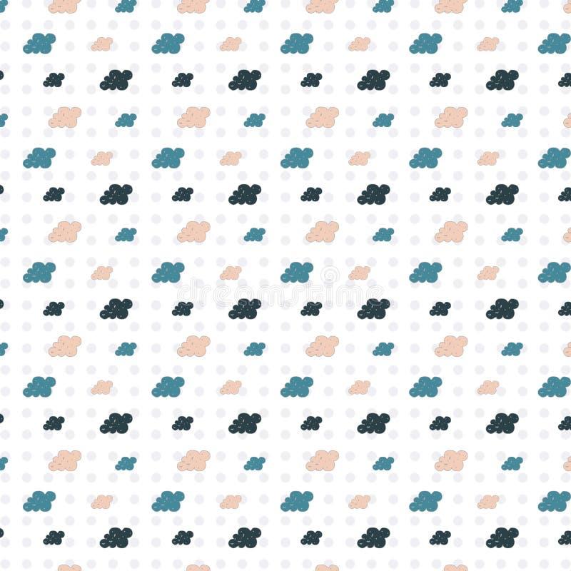 Achtergrond met kleurrijke beeldverhaalwolken royalty-vrije illustratie