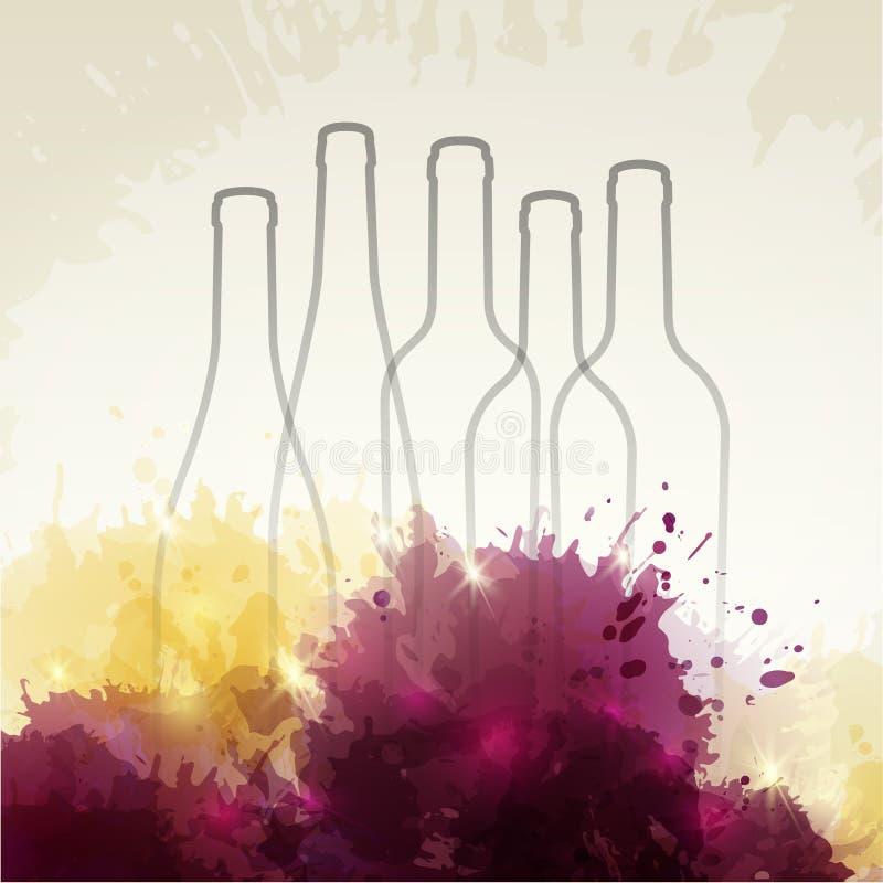 Achtergrond met kleurrijke vlekken en wijn Illustratie van wijn BO stock illustratie