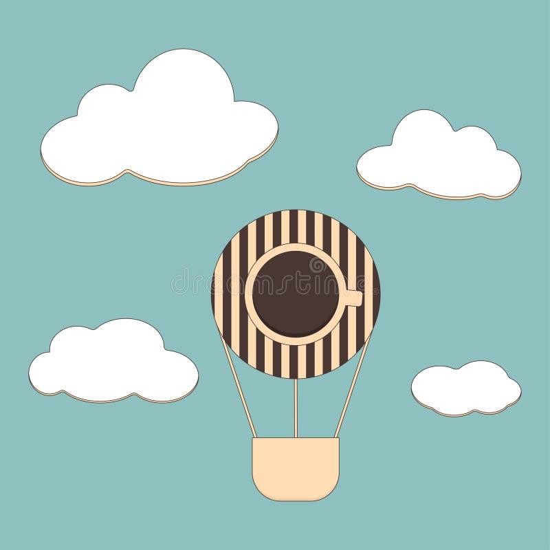 Achtergrond met koffie en luchtballons vector illustratie