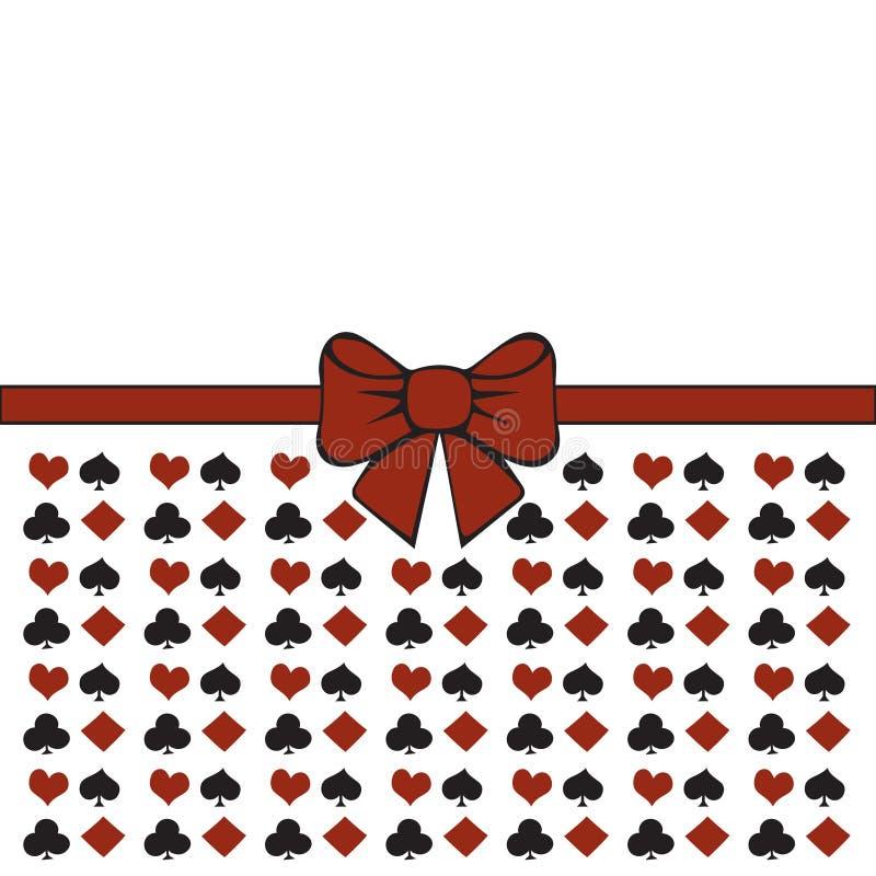 Achtergrond met kostuums Pook of casino naadloos patroon - de vector witte achtergrond met rode en zwarte speelkaart past aan stock illustratie