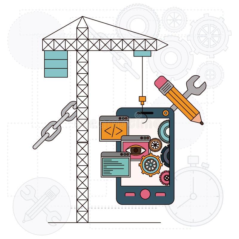 Achtergrond met kraan en smartphone voor ontwikkeling van de bouw vector illustratie