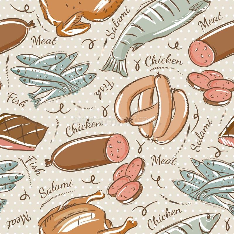 Achtergrond met kuiken, vissen, salami en worst royalty-vrije illustratie