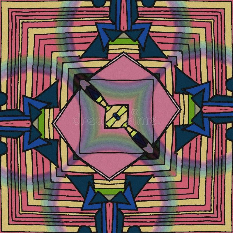 Achtergrond met lijnen, krommen en heel wat kleurenvormen stock illustratie