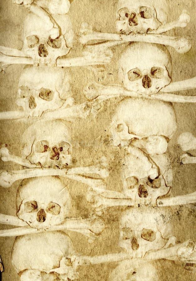 Achtergrond met menselijke schedels en beenderen vector illustratie