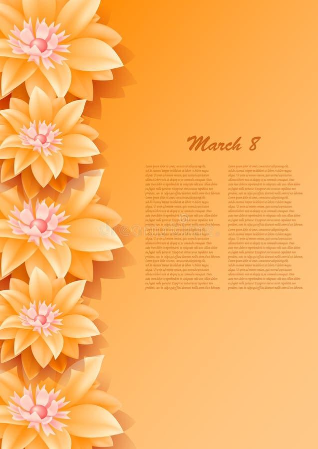 Achtergrond met mooie document oranje bloemen royalty-vrije stock foto's