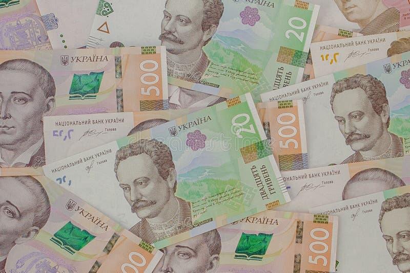 Achtergrond met nieuwe Bankbiljetten Oekra?ense Hryvnia Inflatie, zaken econimics en financi?nthema stock afbeeldingen