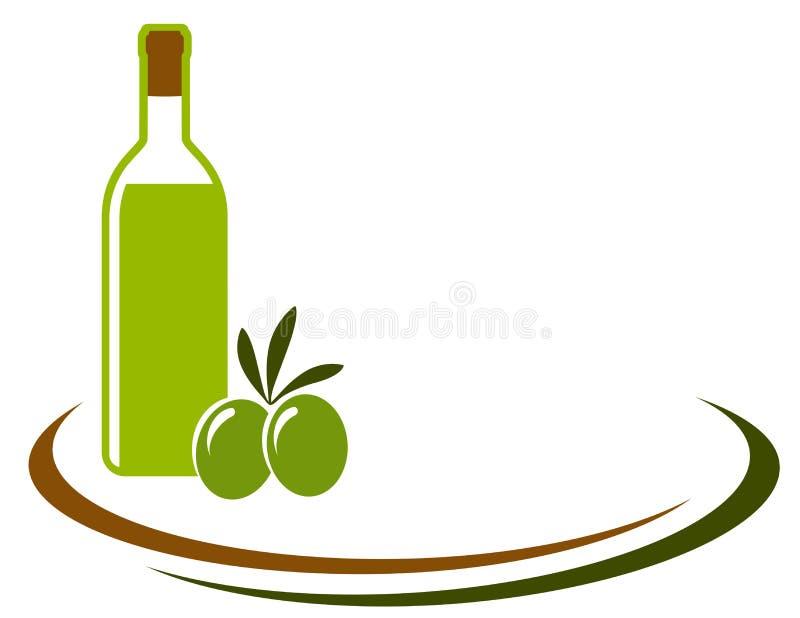 Achtergrond met olijfolie en olijven vector illustratie
