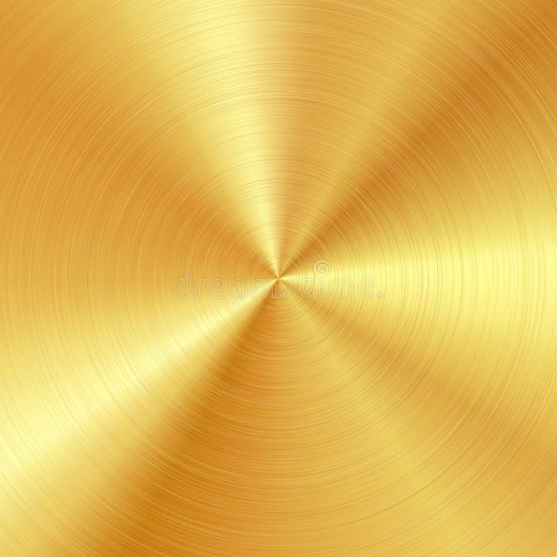 Achtergrond met opgepoetste, geborstelde gouden oppervlakte stock illustratie
