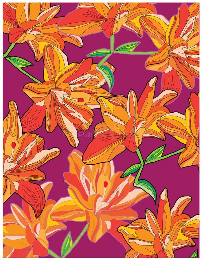 Achtergrond met oranje lelies op een rode achtergrond stock illustratie